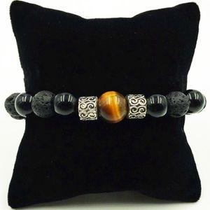 Men or women tiger eye , onyx & lava rock bracelet